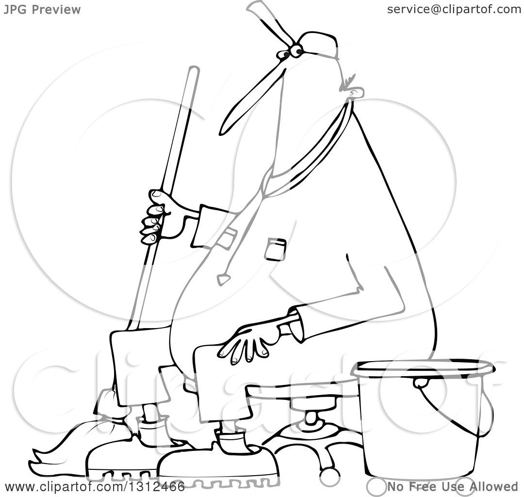 Janitor Mop And Bucket Coloring Page Sketch Coloring Page