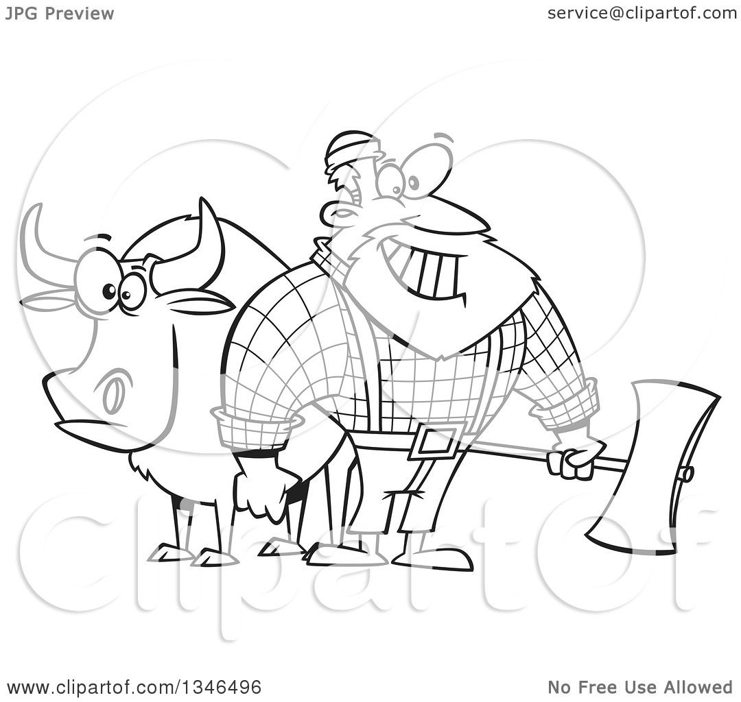 Lineart Clipart Of A Cartoon Black And White Paul Bunyan