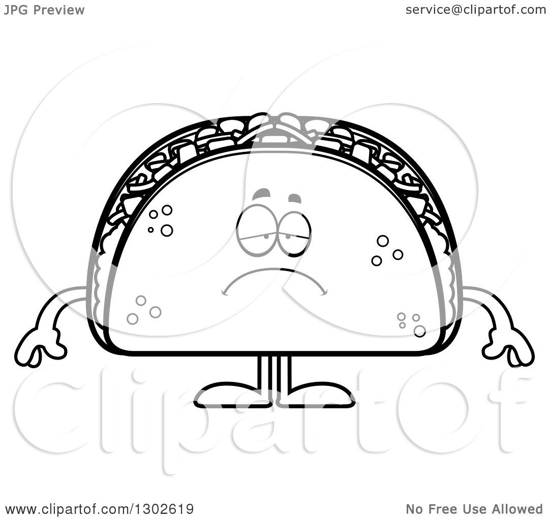 Lineart Clipart Of A Cartoon Black And White Sad Depressed
