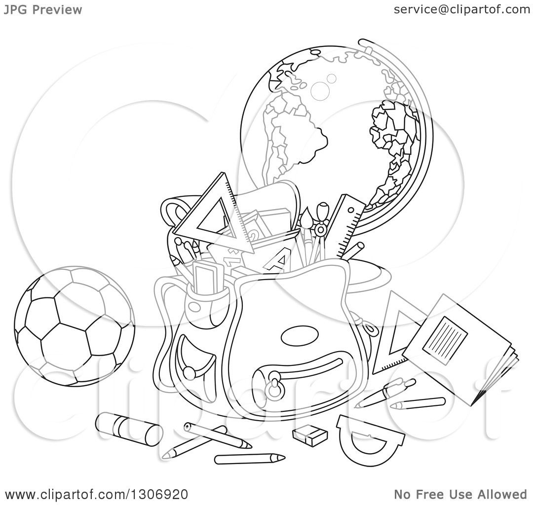 Lineart Clipart Of A Cartoon Black And White School