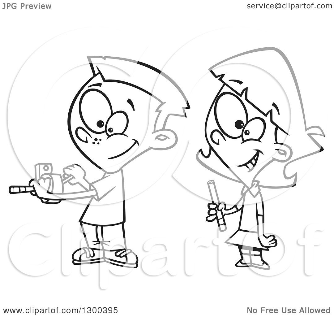 Lineart Clipart Of A Cartoon Black And White School Girl