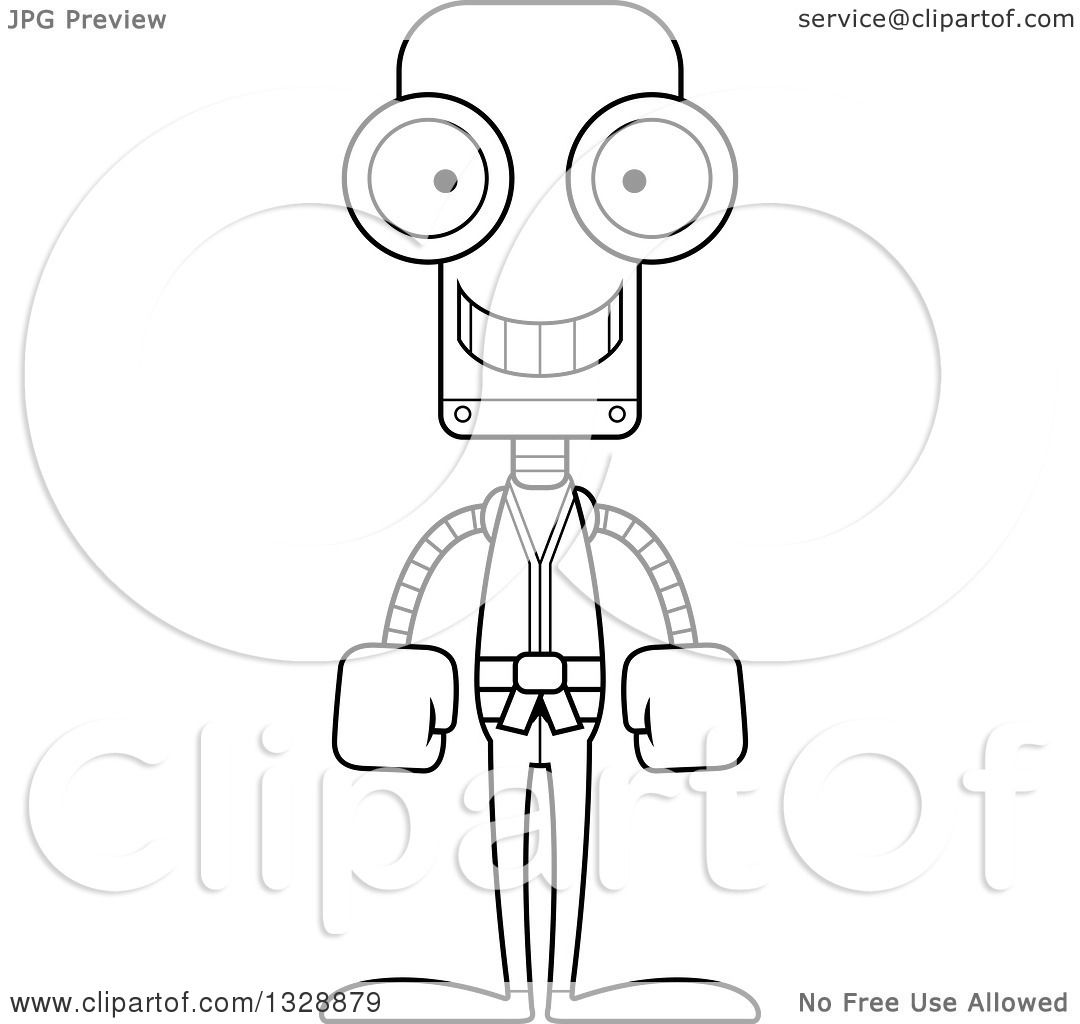 Lineart Clipart Of A Cartoon Black And White Skinny Happy Karate Robot