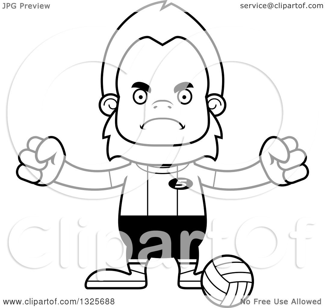 Lineart Clipart Of A Cartoon Blcak And White Mad Bigfoot