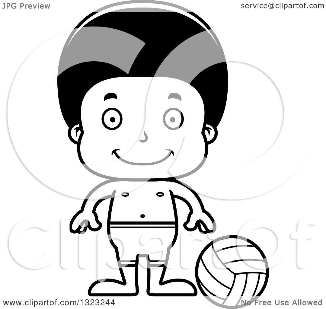 Lineart Clipart Of A Cartoon Happy Black Boy Beach