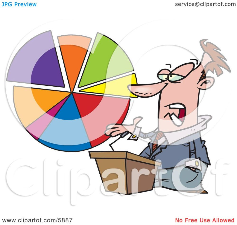 medium resolution of male business man standing at a podium discussing a pie chart clipart illustration by toonaday