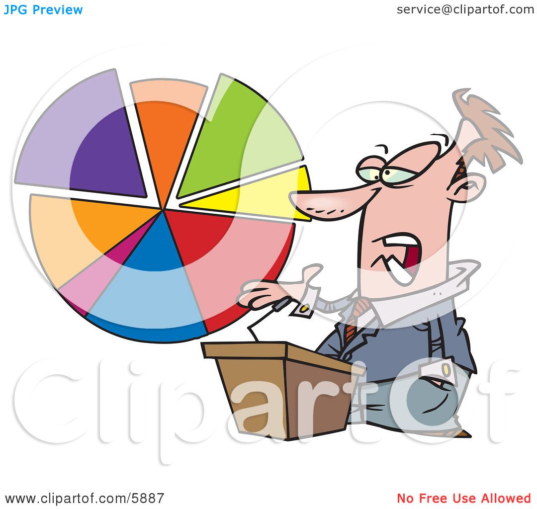 hight resolution of male business man standing at a podium discussing a pie chart clipart illustration by toonaday
