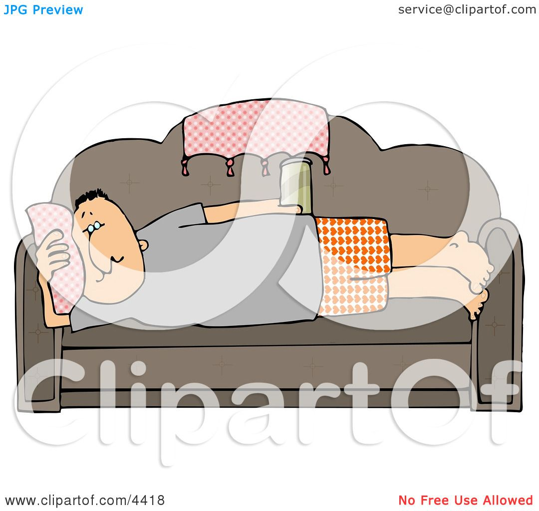 hight resolution of male couch potato laying on his couch watching tv and drinking beer clipart by