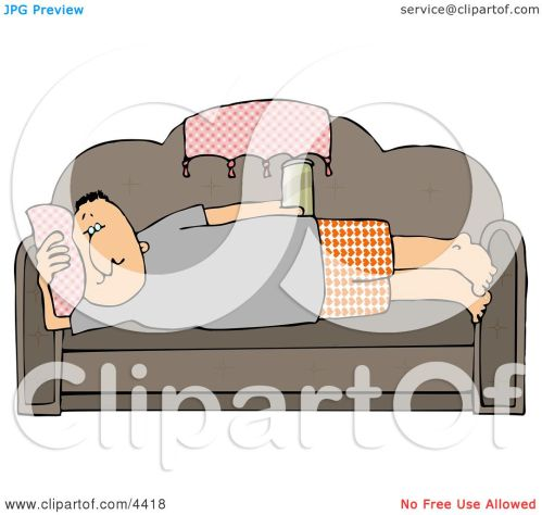 small resolution of male couch potato laying on his couch watching tv and drinking beer clipart by