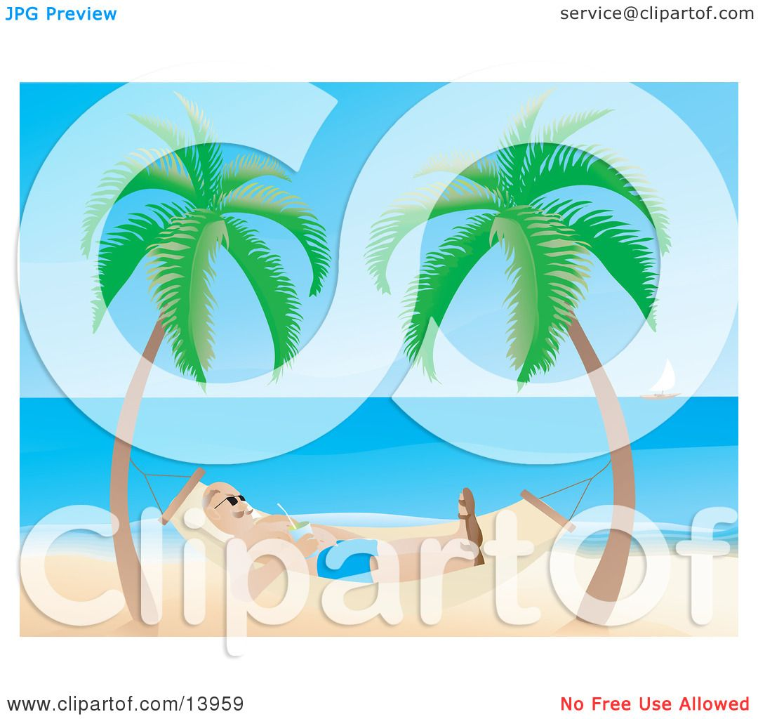 Man Relaxing In A Hammock On A Tropical Beach Clipart