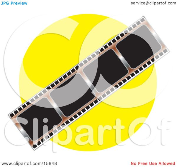 Negative Film Strip Over Yellow Background Clipart