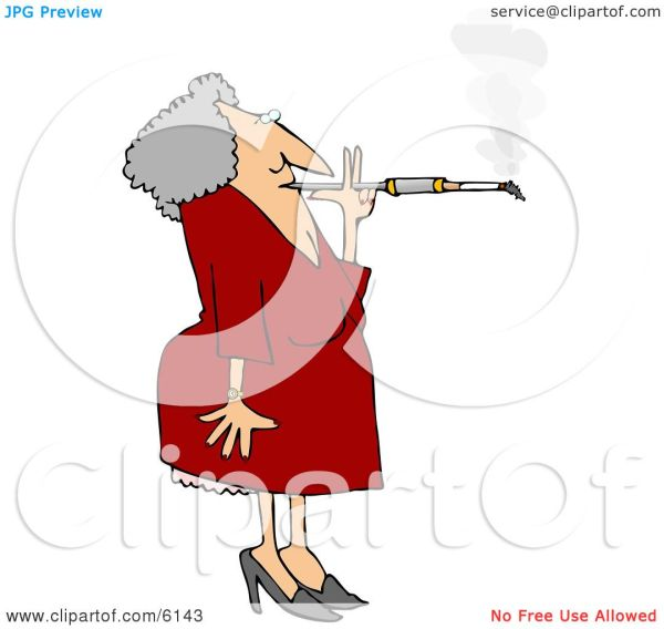Woman Smoking Cigarette Long Filter Clipart Djart #6143