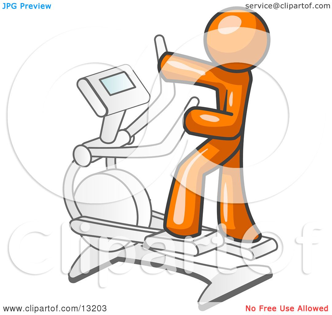 hight resolution of orange man exercising on a cross trainer in a gym clipart illustration by leo blanchette