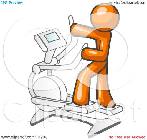 small resolution of orange man exercising on a cross trainer in a gym clipart illustration by leo blanchette