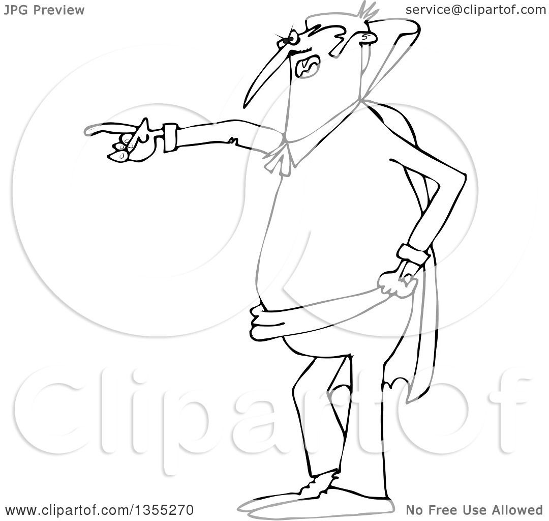 Outline Clipart of a Cartoon Black and White Angry Vampire