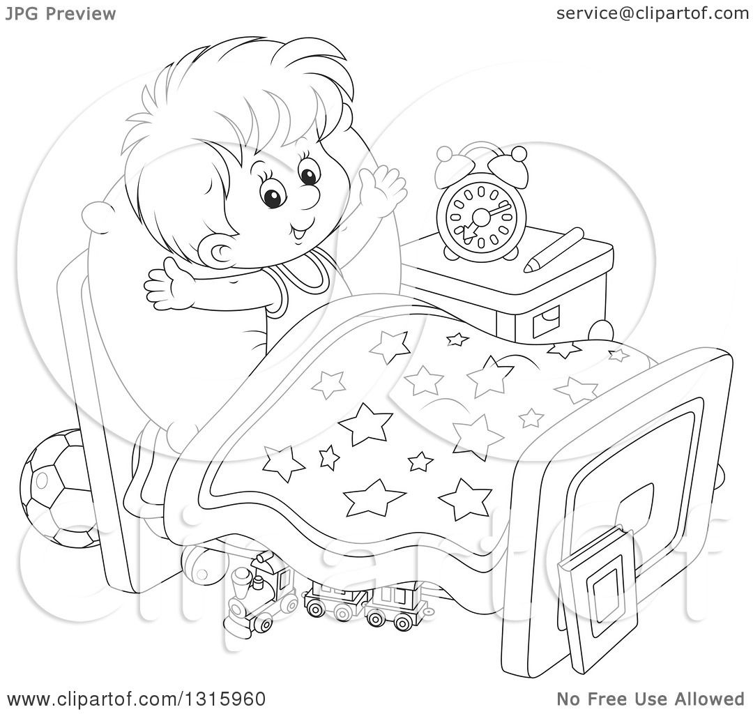 Outline Clipart Of A Cartoon Black And White Boy
