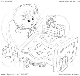 Outline Clipart of a Cartoon Black and White Boy Stretching in Bed After Waking up Royalty Free Lineart Vector Illustration by Alex Bannykh #1315960
