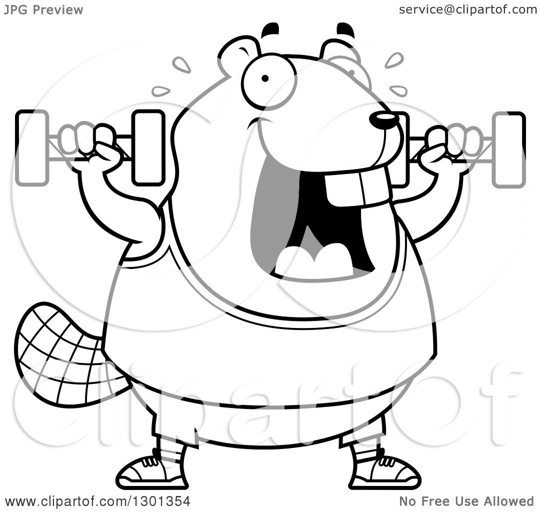Outline Clipart Of A Cartoon Black And White Chubby Beaver
