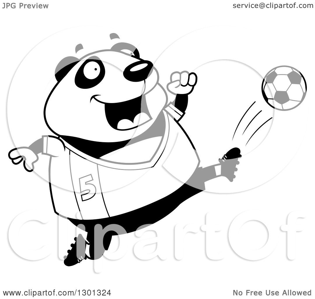 Outline Clipart Of A Cartoon Black And White Chubby Panda