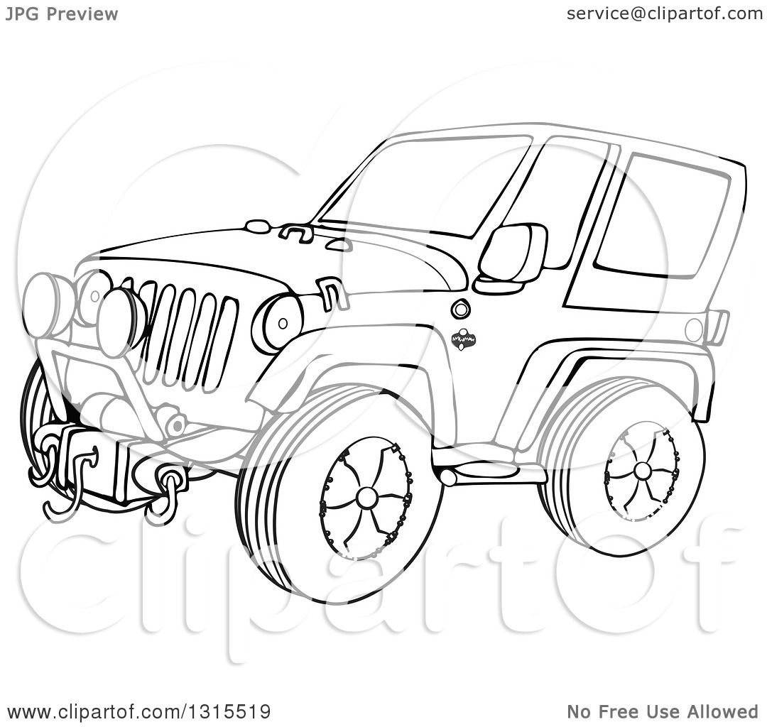 Outline Clipart Of A Cartoon Black And White Jeep Wrangler