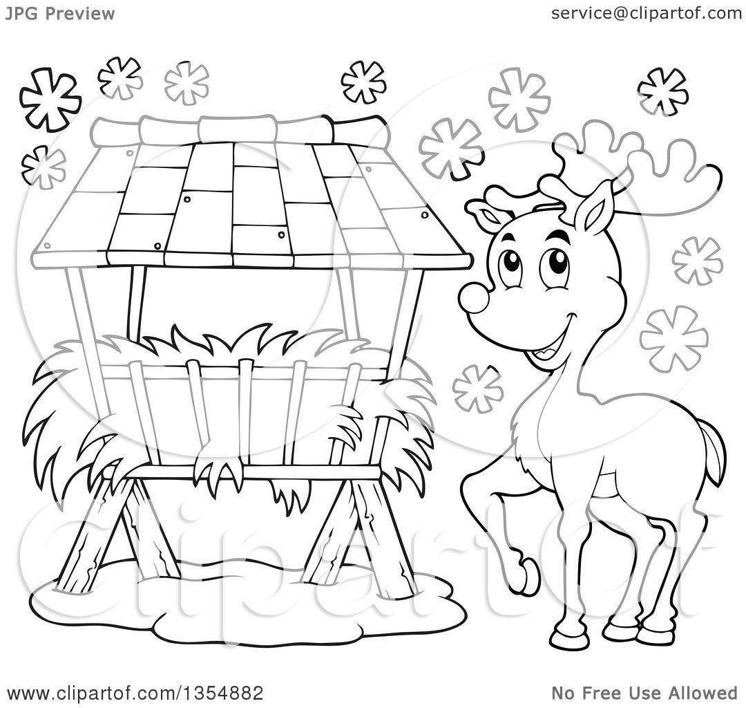 Outline Clipart Of A Cartoon Black And White Reindeer By A