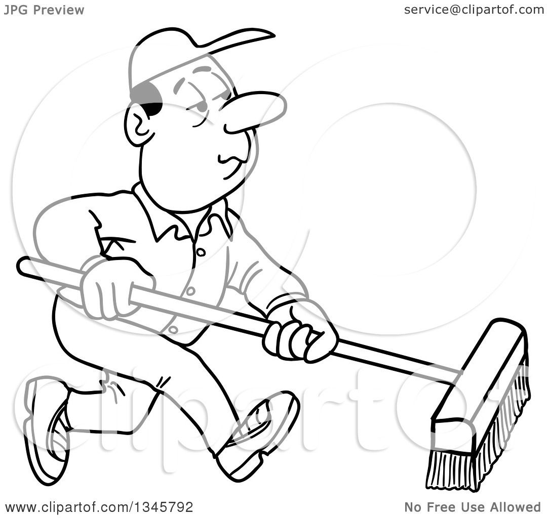 Outline Clipart of a Cartoon Black and White White Male