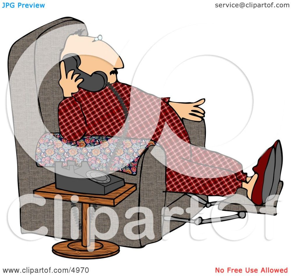 medium resolution of overweight couch potato man talking on a phone clipart by djart