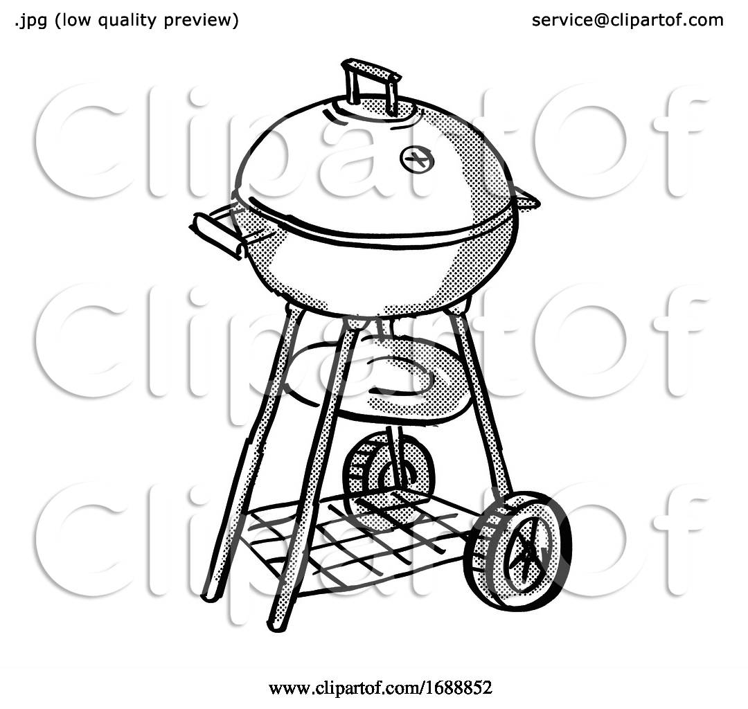 Portable Barbecue Charcoal Grill Cartoon Retro Drawing by