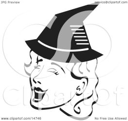 witch halloween singing hat clipart woman pretty illustration wearing pointy clip nortnik andy without