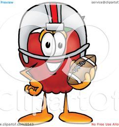 red apple character mascot in a helmet holding a football clipart picture by toons4biz [ 1080 x 1024 Pixel ]