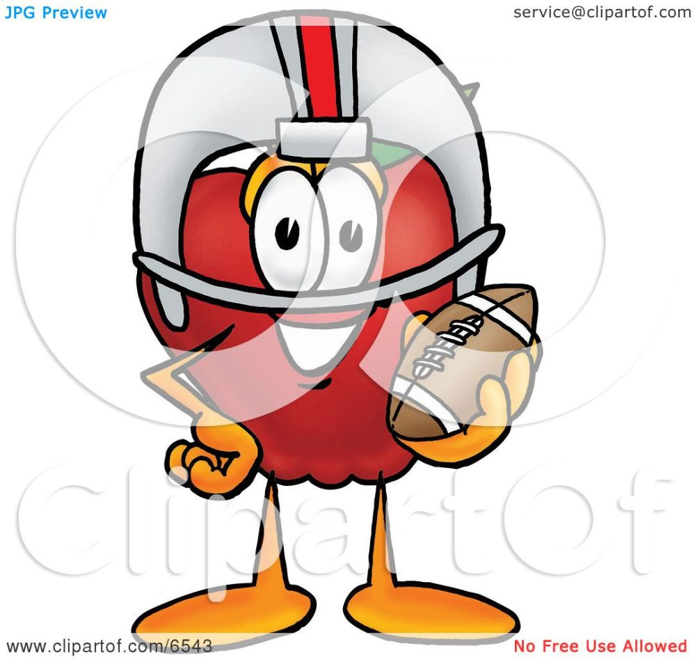 medium resolution of red apple character mascot in a helmet holding a football clipart picture by toons4biz