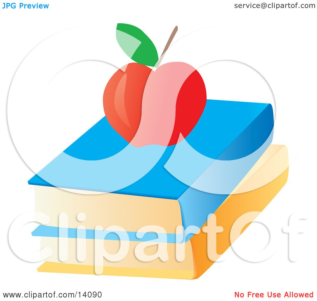 hight resolution of red apple on top of text books school clipart illustration by rasmussen images