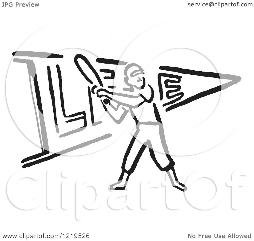 Retro Clipart Of A Black And White Retro Baseball Player Batting Over A Pennant Flag