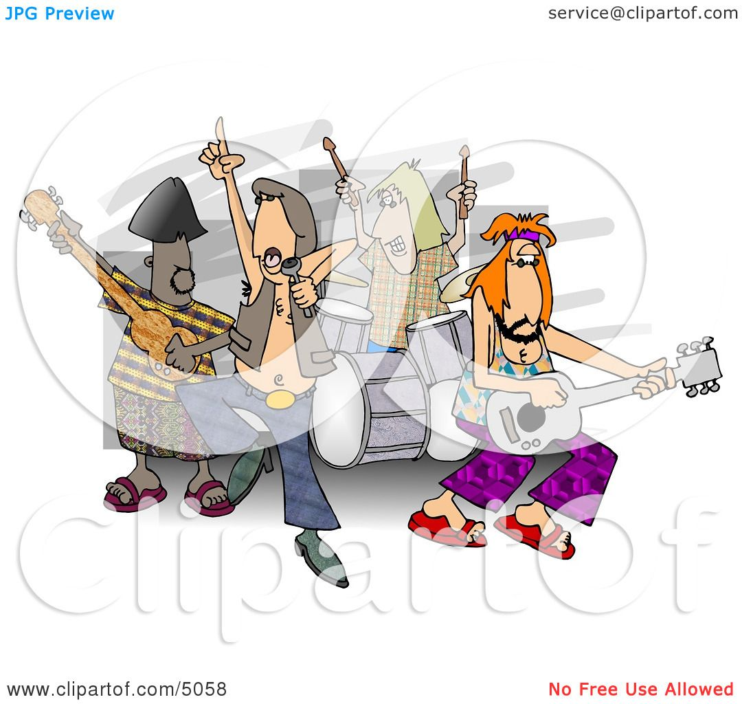 hight resolution of rock and roll band members playing music clipart by djart