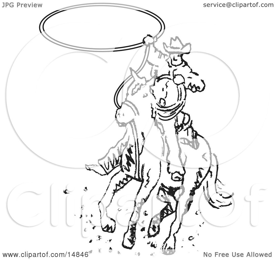 Roper Cowboy On A Horse Swinging A Lasso To Catch A Cow Or