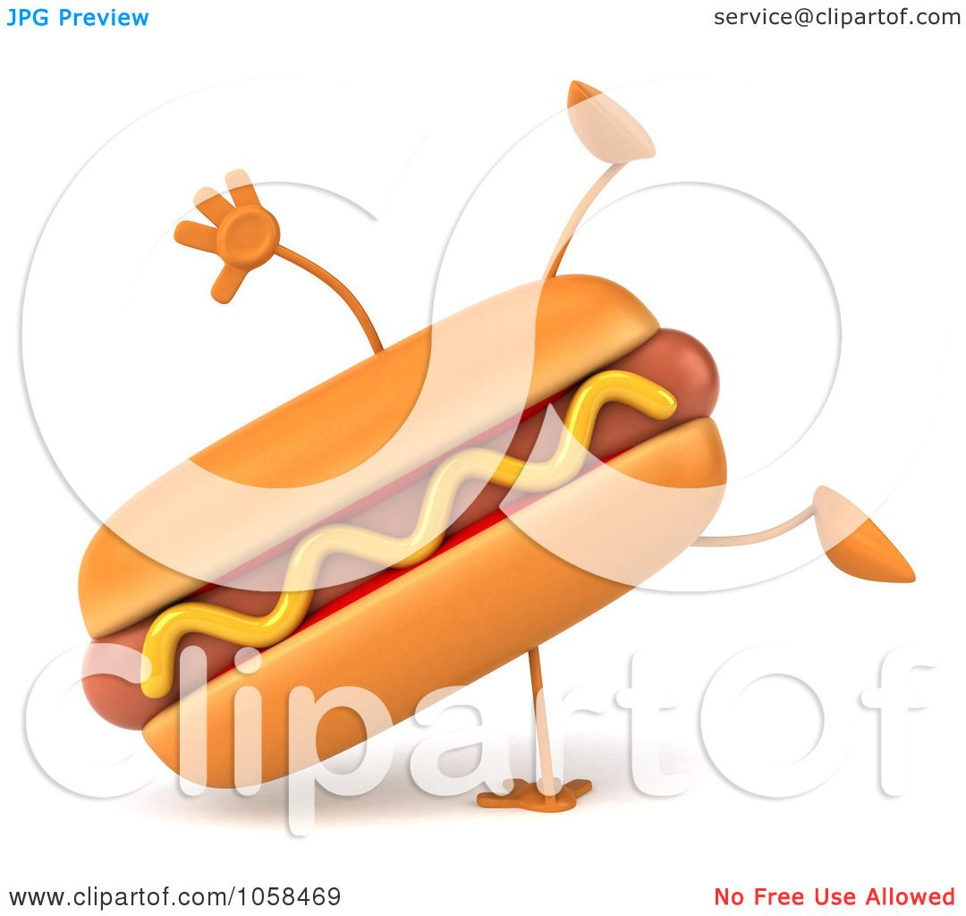 hight resolution of royalty free cgi clip art illustration of a 3d hot dog character doing a cartwheel