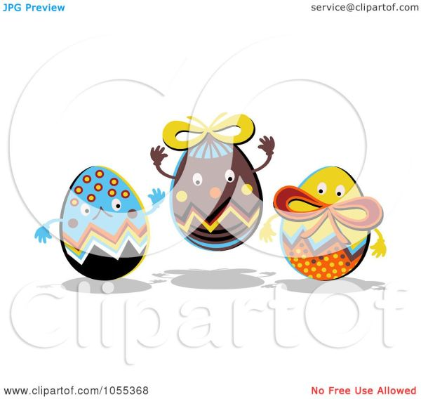 Royalty-free Clip Art Illustration Of Three Happy Easter