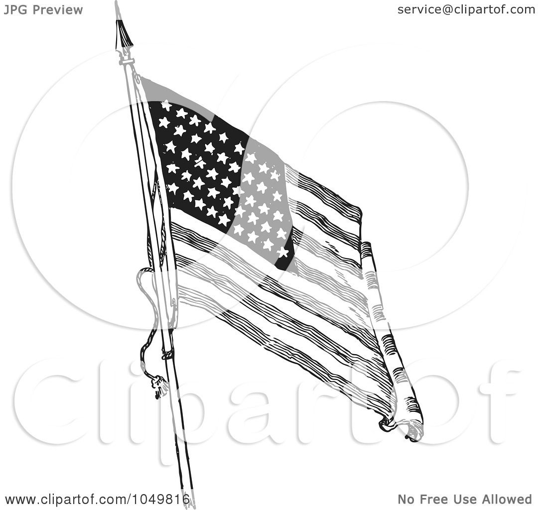 Royalty Free Rf Clip Art Illustration Of A Black And White Retro American Flag Waving