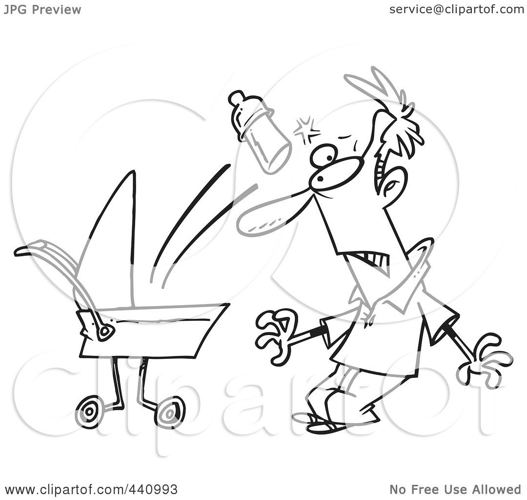 Royalty Free Rf Clip Art Illustration Of A Cartoon Black And White Outline Design Of A Baby