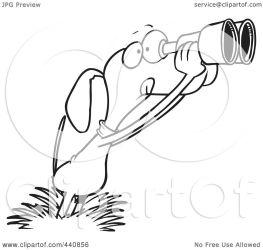 bird dog binoculars cartoon outline clip using royalty illustration toonaday clipart rf line copyright