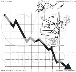 cartoon outline graph blindfolded down illustration clip unicycling royalty toonaday leishman ron rf