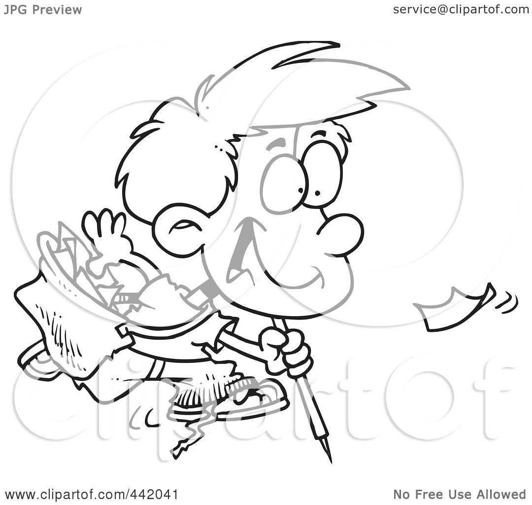 Royalty Free Rf Clip Art Illustration Of A Cartoon Black And White Outline Design Of A Boy