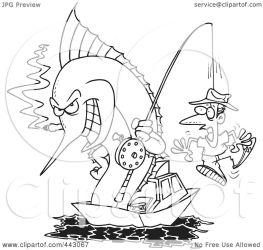 fishing marlin outline hook cartoon clip royalty illustration rf clipart toonaday line