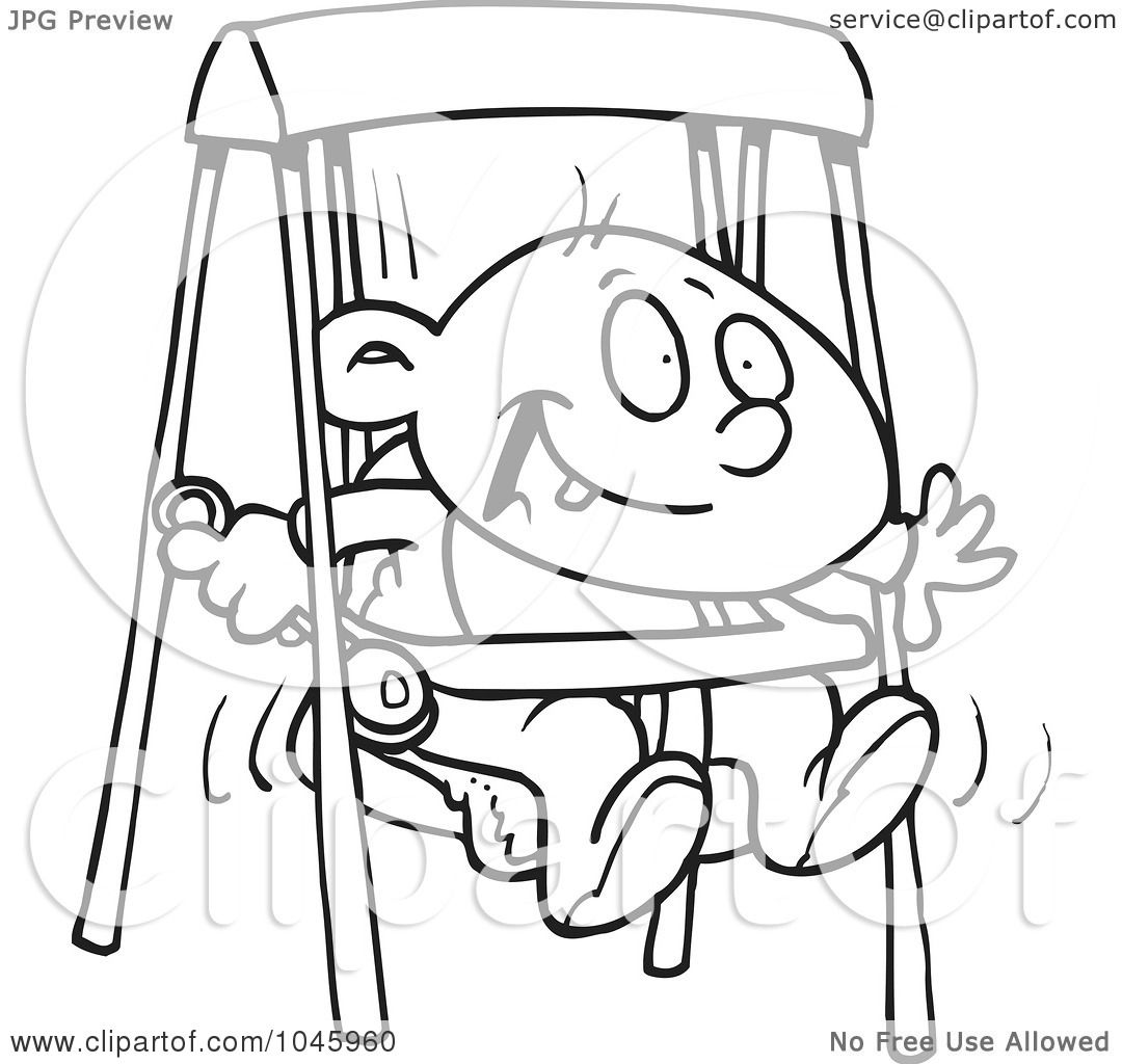 Royalty Free Rf Clip Art Illustration Of A Cartoon Black And White Outline Design Of A Happy
