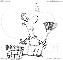 fall leaves cartoon outline raking clip watching yet another clipart rf toonaday line