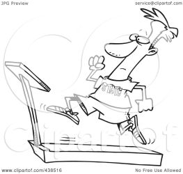 treadmill cartoon outline sprinting clip royalty illustration toonaday rf clipart line without