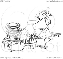 dishes washing cartoon outline barrel clip illustration royalty rf clipart toonaday line