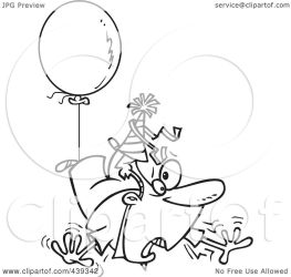 floating away balloon outline party clip cartoon awry toonaday illustration royalty rf clipart notes line