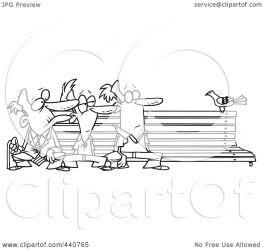 bird bench outline three cartoon watching clip toonaday royalty illustration rf clipart leishman ron