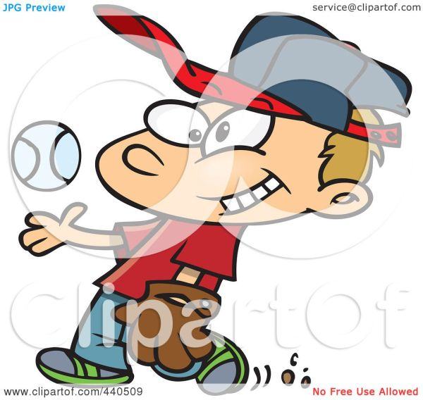 Royalty-free Rf Clip Art Illustration Of Cartoon Boy Tossing And Catching Baseball Ron