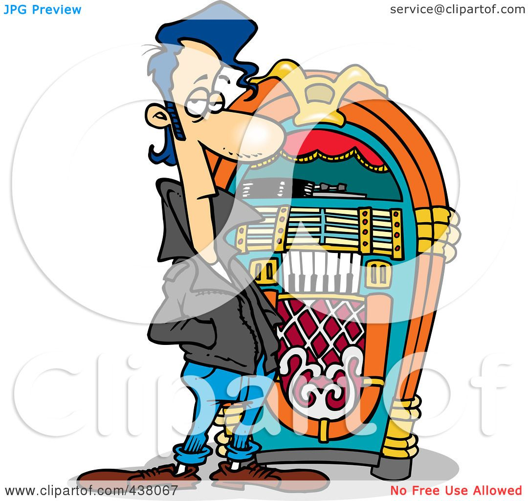 hight resolution of royalty free rf clip art illustration of a cartoon greaser by a juke